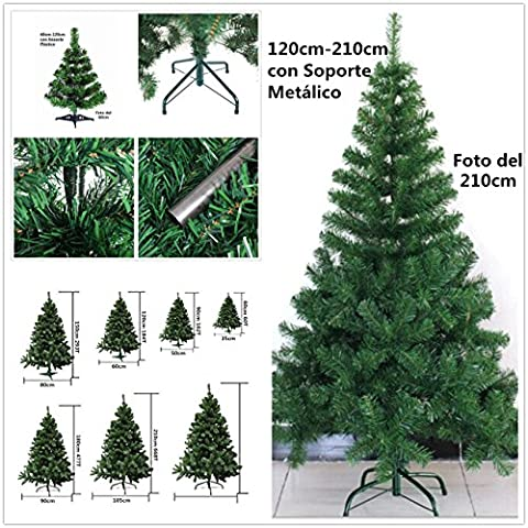Arbre de Noël vert artificiel avec support métallique 90cm-210cm (180cm 477Tips)