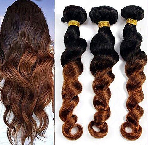 Unverarbeitet 8A Peruanisch Haarverlängerungen Lose Tief Welle Virgin Haar Weben Mensch Echthaar Tressen Braun 1 Bündeln 100g(Farbe:1b/30), 14