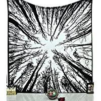 Tapestry Queen Black White Hippie tapestries Mandala Bohemian Psychedelic Intricate Indian Bedspread 92x82 Inches Aakriti Gallery Brand Name: Aakriti Gallery (Forest)