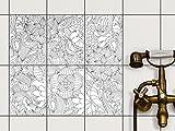 creatisto Dekor-Fliesen | Selbstklebende Aufkleber Folie Sticker Badfliesen Küchen-Folie Badezimmergestaltung | 15x20 cm Muster Ornament Flower Lines 2-6 Stück