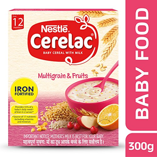 Nestle Cerelac Fortified Baby Cereal with Milk, Multigrain & Fruits – From 12 Months, 300g Pack