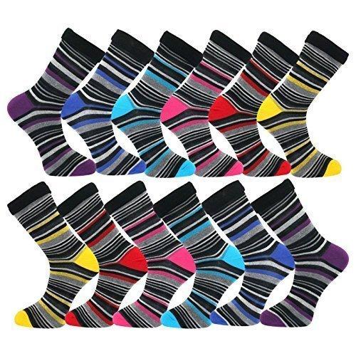 Pack of 12 Men's Luxury Stripy Cotton Blend Dress Suit Socks