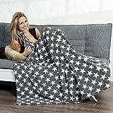 Kuscheldecke 150x200 Motiv Sterne, Mikrofaser Coral-Fleece weich und flauschig, Tagesdecke grau CelinaTex Moonlight 5001000