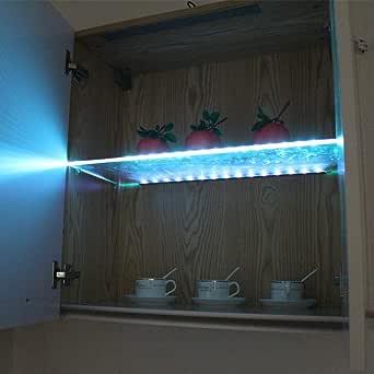 LED Glasregal unter Kabinett beleuchtet Glasrand Rückseiten