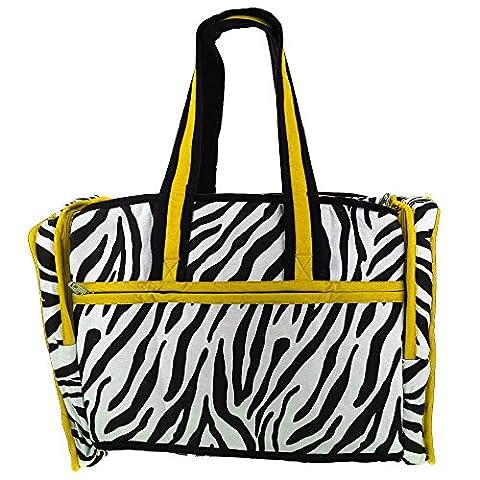 Gesteppte Zebra Yellow Print Reisetasche mit wasserdichtem Futter und 3 Taschen - Perfekt für Shopping, (Stampa Trapuntato Borsa)