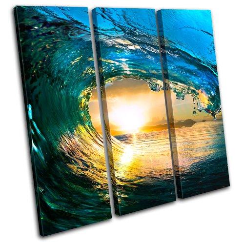 Bold Bloc Design - Tahiti Ocean Wave Sunset Seascape - 120x120cm Leinwand Kunstdruck Box gerahmte Bild Wand hängen - handgefertigt In Großbritannien - gerahmt und bereit zum Aufhängen - Canvas Art Print