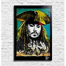 Jack Sparrow de la película Piratas del Caribe: La Venganza de Salazar (Pirates of the Caribbean) - Pintura enmarcado original, imagen, impresión, cartel, póster, impresion en lienzo, cuadro, cómics, cartel de la película, geek, nerd