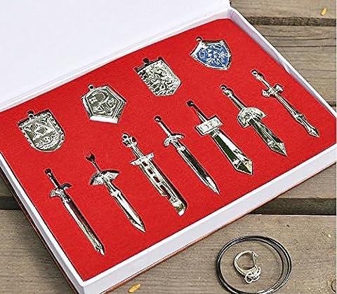 The Legend of Zelda Metal Shield & Sword Weapons Necklace