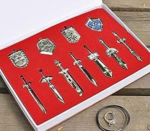 Colormax Coffret 11 pendentifs en forme de boucliers et d'épées de La légende de Zelda