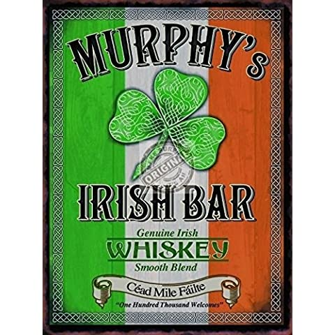 De Murphy Irlandés bar / Pub letrero Irlandés Bandera y trébol y céltico. whisky whisky Bebida, bar. Para casa, hogar, Bar o Pub. Metal/Cartel De Acero Para Pared - 9 x 6.5 cm