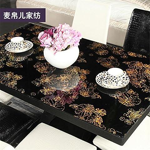 BYTQ® Nappe PVC Style européen Rectangle Tissu de table Imperméable à l'huile Non Lavable Isolant en plastique doux et nappe anti-poussière , 90*140cm
