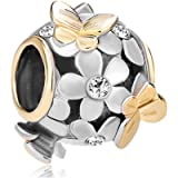 Uniqueen Jewellery Butterfly Flower Charms Beads with Crystal Bead Fit Bracelet