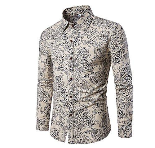 Gomy uomo funky stampato biancheria camicia manica lunga fantasia floreale casuale shirt modello unico