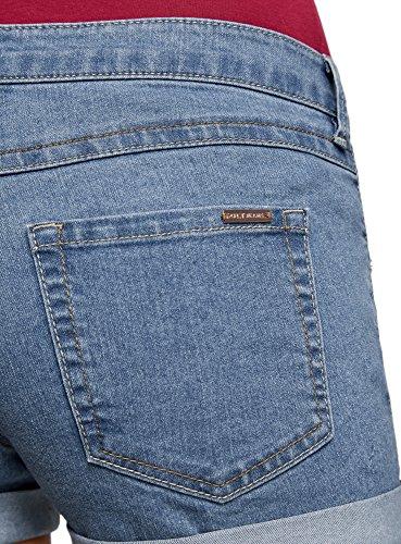 oodji Ultra Damen Jeansshorts Basic Blau (7000W)