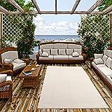 Pergamon In- und Outdoor Teppich Flachgewebe Carpetto Uni Creme Mix in 4 Größen