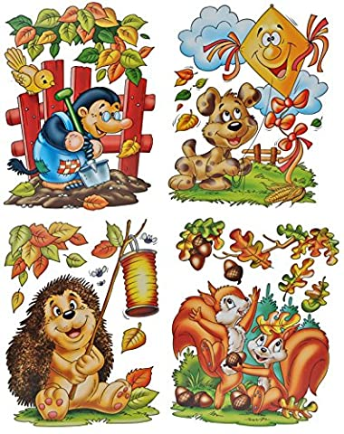 4 Stück: XL Fensterbilder Herbst - Igel / Eichhörnchen / Hund / Maulwurf - Sticker Fenstersticker Aufkleber selbstklebend & statisch haftend wiederverwendbar