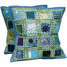 Juego de 2 fundas para cojín, diseño de patchwork indio, algodón, azul, 16 X 16 Inches