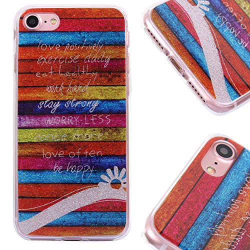 [3 Pack] iPhone 8 Hülle - Fraelc iPhone 7 Bling Glitzer Glänzende Schutzhülle Weiche Flexible TPU Silikon Bumper Handyhülle für Apple iPhone 7 / iPhone 8 (4,7 Zoll) Gummihülle mit Rosa stern + Flaming Schwarz Meer Streifen