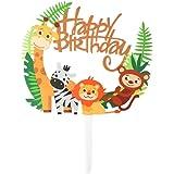 Toyvian Acrílico Animal Cupcake Toppers - Selecciones Lindas de la Selva de la Torta de los Animales para DIY Baby Shower Dec