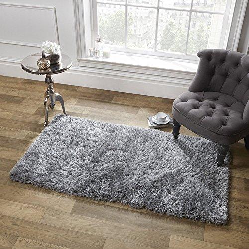 Dreamscene Sienna weicher Hochflor Shaggy Teppich Dick Flor 120x 170cm, Polyester, Silber grau, 170x 5x 120cm