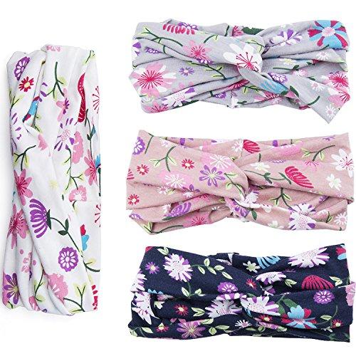 Bandeaux en Coton à Imprimé Floral, ZWOOS 4Pcs Femmes Coton Élastique Torsadé Enrouleur de Tête à Turbine Nouée (Daisy)