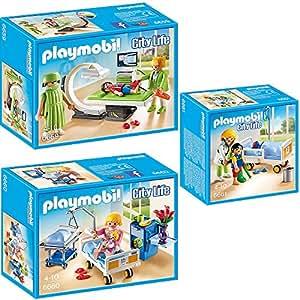 Playmobil® respectueux de l'hôpital pour enfants Ensemble de 3parties 665966606661salle de Radiologie + Sickroom avec lit + Doctor avec patient