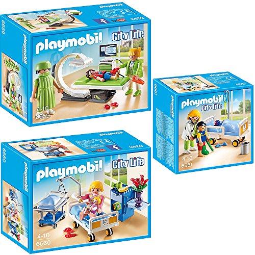 PLAYMOBIL® City Life Kinderklinik 3er Set 6659 6660 6661 Röntgenraum + Krankenzimmer mit Babybett + Ärztin am Kinderkrankenbett