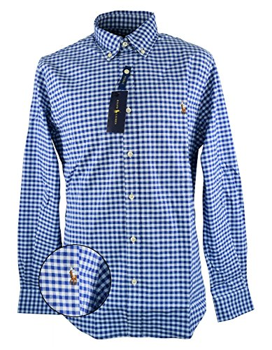 Polo Ralph Lauren Herren Slim FT BD PPC Blue/White Gin Freizeithemd, Mehrfarbig I44ZB, XX-Large (Us Polo By Ralph Lauren)