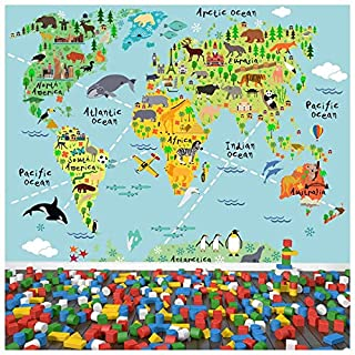 azutura Animal World Map Wall Mural Childrens Photo Wallpaper Kids Bedroom Home Decor available in 8 Sizes Medium Digital