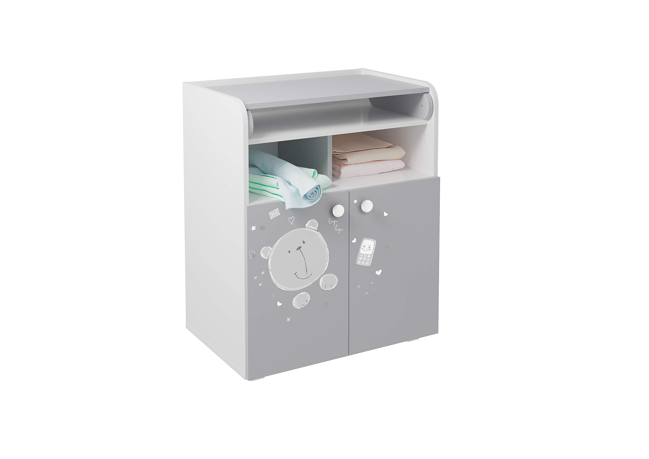 Polini French, Drawer Unit 1270, Teddy Print, White/Grey Kidsaw Dimensions (LxWxH): 47 x 70 x 86 cm French design Detachable changing mat leaves no marks on the dresser 1