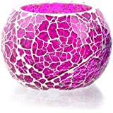 Merarki Handcrafted Crystalline Glass Tea Light Candle Holders With Pink Color Design For Festival Season And Home Decoration Pack Of One