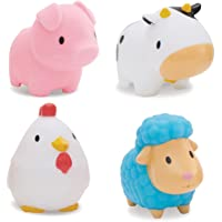 Munchkin Floating Farm Animal Themed Rubber Bath Squirt Toys for Baby - Pack of 4