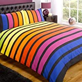 Just Contempo Striped Duvet Cover Set - King, Multicolour