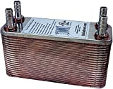 Duda Energy HX1240: HB12 B3-12A 40 Plate Stainless Steel Heat Exchanger with 1/2 Hose Barb Ports Copper Brazed, 3.8 Height, 2.9 Width, 7.5 Length