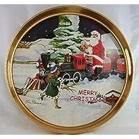 """Vassoio tondo """"merry Christmas"""" deco Babbo natale Diam 34 cm con bordo rialzato e manici color oro."""