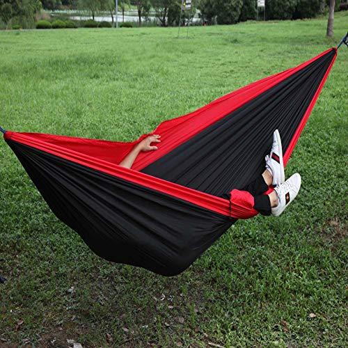 Jun7L 2 Personas Hamaca para Acampar Ultraligera, Hamaca Fresca al Aire Libre, Camping Familiar, Senderismo, Turismo, jardín Negro Rojo 300x200cm