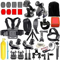 Iextreme Kit de accesorios 45-en-1 para cámara deportiva GoPro Hero 6 5 4 3 + 3 2 1 6 black 5 black, Xiaomi Yi, SJ4000 SJ5000 SJ6000,WiMiUS, DBPOWER, Cámara de acción APEMAN,Action Camera Campark