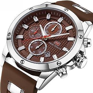 Herren-Sportuhr-Chronograph-Fashion-Wasserdicht-Quarzuhr-Herren-Business-Watch-Herren-Brown-Rubber-Silikon