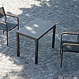 Quadrat HPL Tisch 160 x 80 cm - Gestell schwarz / Platte zementoptik