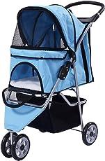 COSTWAY Hundewagen Hundebuggy Hunde Buggy Pet Stroller mit Becherhalter&Einkaufstasche 3 Räder Farbwahl