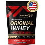 MuscleXP Raw Whey Protein Concentrate 80% Powder With Digestive Enzymes, Unflavored, 1Kg (2.2lb)