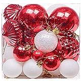 Valery Madelyn Natale Baubles Tradizionale Rosso e Bianco Palle dell'albero di Natale Decorazioni, 30-80mm (50 Pezzi)