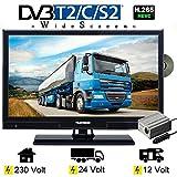 Telefunken T20X740MOBIL/24 LED Fernseher TV 20 Zoll 51 cm DVB/S/S2/T/T2/C, DVD, USB, 12V 24V 230V, Energieeffizienzklasse A+ Nur 14Watt, Wide Screen TV