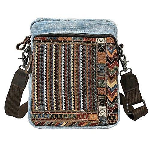Paonies Unisex Damen Herren Canvas Leinwand klein Tasche Umhängetasche Messenger Bag Schultertasche (Kaffeebraun) Blau