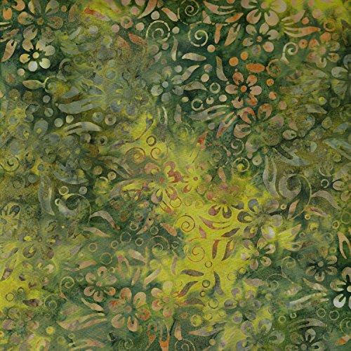 Fabric Freedom Grün Flow Design 100% Baumwolle Bali Batik Tie Dye Muster Stoff für Patchwork, Quilten &,-(Preis Pro/Quarter Meter) (Stoff Kaufman)