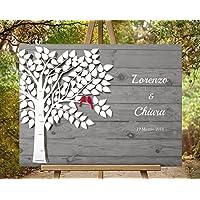 50x40 cm Effetto 3D Wedding Tree L'albero della vita, essere firmato Albero tela impronte digitali albero matrimonio compleanno libro degli ospiti, effetto finto legno