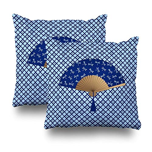 Trsdshorts Set of 2 Throw Pillows Covers for Couch/Bed 18 x 18 inch,Japanese Fan Dragonfly Cobalt Blue Home Sofa Cushion Cover Pillowcase Gift Decorative Hidden Zipper Summer Beach Sunlight - Cobalt Blue Candy
