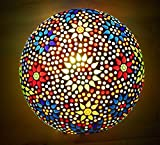 Susajjit Mosaic round shape handcrafted ceiling lamp multicolored decorative roof lamp