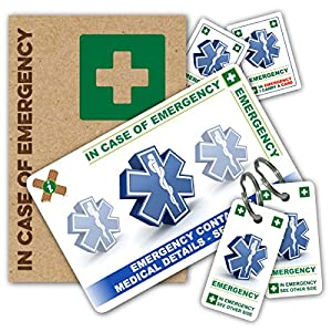 In Case of Emergency (I.C.E.) Card Pack with Key Rings & Stickers from ICEcard. Wallet size card with WRITABLE reverse to carry Emergency Contact & Medical / Medication Information. by ICEcard