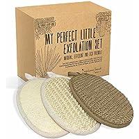 Conjunto de 3 guantes para peeling corporal y facial, hecho de esponja Luffa y fibras de Cáñamo y Sisal - Exfoliante y limpiadora - en caja de regalo- Regalo ideal para la mujer